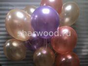 шарики перламутр сиреневого цвета, персик и розовое золото